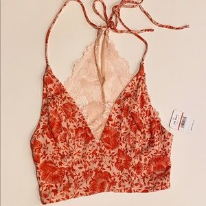 Free People Halter Lace Bandeau (Red/Pink)